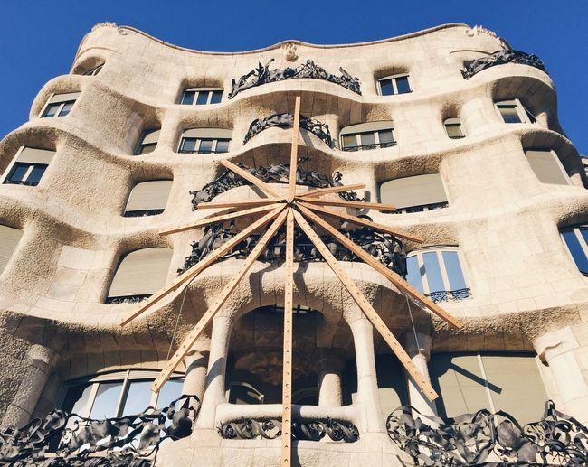 La Pedrera, Casa Milá Architecture Building Exterior City Built Structure Low Angle View Travel Destinations No People Outdoors Sky Day Clock La Pedrera - Gaudi - Barcelona IPhoneography Monument Catalunya EyeEmNewHere