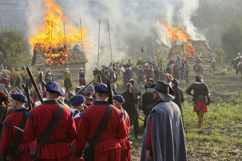 Battle Battlefield Burning Crowd Destruction Fire - Natural Phenomenon Flame Heat - Temperature Historical Reconstruction History Large Group Of People Leisure Activity Old Weapon Old Weapons Outdoors People Real People Reconstruction Group Smoke - Physical Structure Soldiers Ukraine Vintage XVII Century