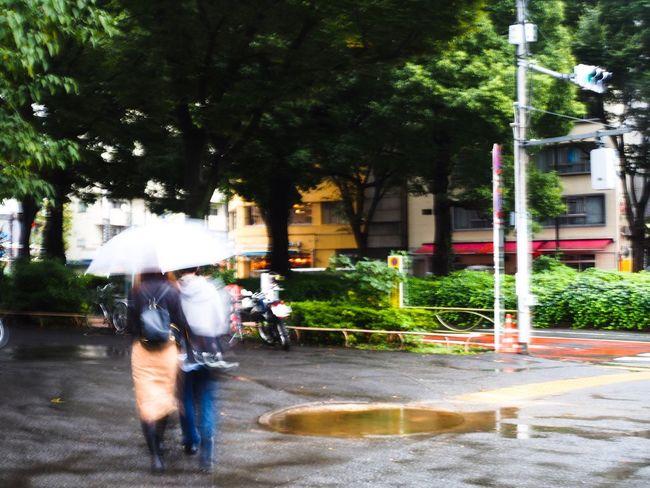 カップル×Blurred motion Lovers Blurred Motion Motion Street Real People Road City Tree Building Exterior Umbrella Tokyo Street Photography Olympus OM-D E-M5 Mk.II 被写体ブレ×カメラブレ。二人の愛だけはブレ無きことを…