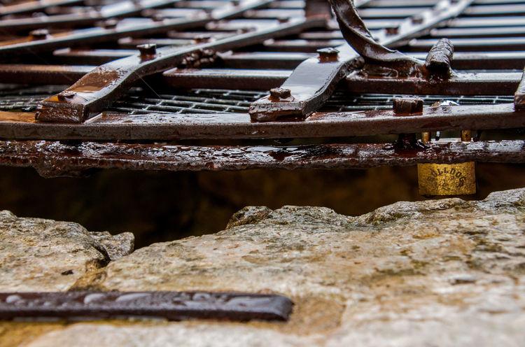 Lock Padlock Rainy Days Secret Well  Locked Bulldog Rusty Closed Safety Close-up Detail Grid Protection Robust