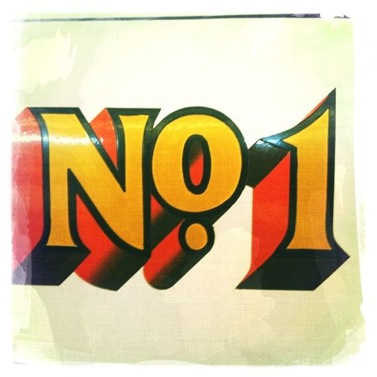 Vintage Signs Number NumberOne No People One No.1 Colour Yellow Red