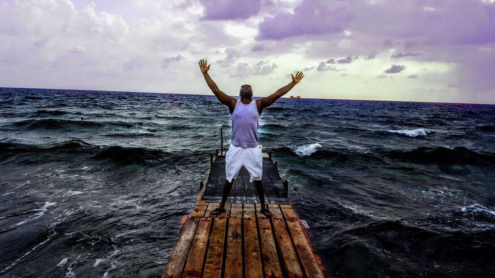 Ayia Napa Ayianapa Cyprus Sea Arms Raised Standing Sky Lightx