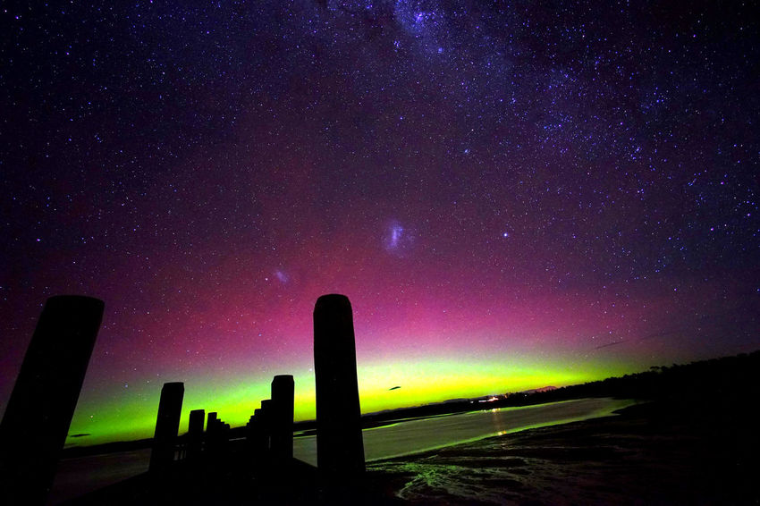 Aurora Aurora Australis Glowing Milky Way Night Sky Pier Reflection Stars Tasmania Water