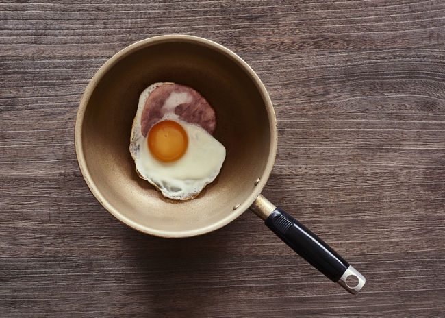 Close-up Coffee Coffee Cup Composition Cup Directly Above Egg Food Freshness Fried Egg Frying Pan Ham Indoors  Overhead View Perspective Refreshment Still Life Table Top Perspective