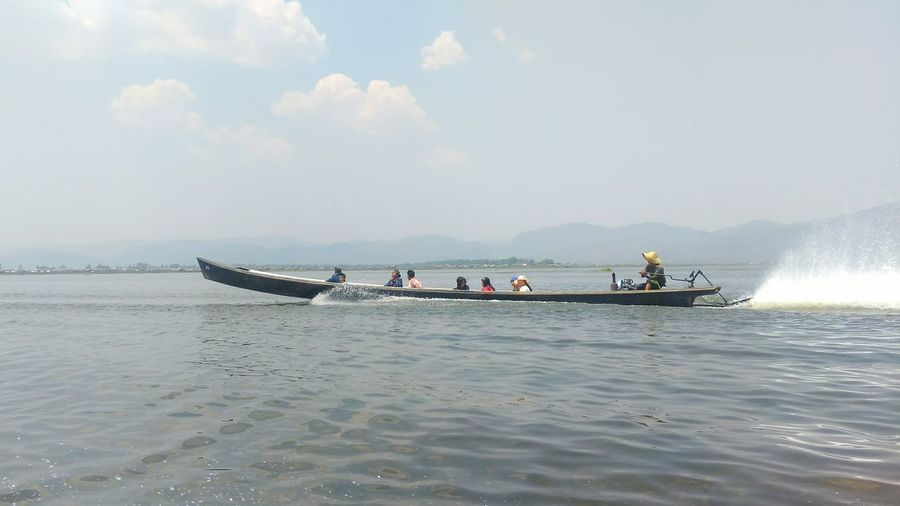 Transportation People Water Myanmar Travelphotography Boat Trip Boat Inle Lake, Myanmar Lake View Outdoors Travelaroundtheworld Water And Clouds Cloud - Sky