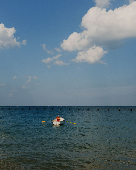 Adult Adults Only Adventure Beauty In Nature Chicago Cloud - Sky Day Horizon Over Water Lake Lakemichigan Nature Nautical Vessel One Person Outdoors Paddleboat People Sea Sky Vacations Water Waterfront