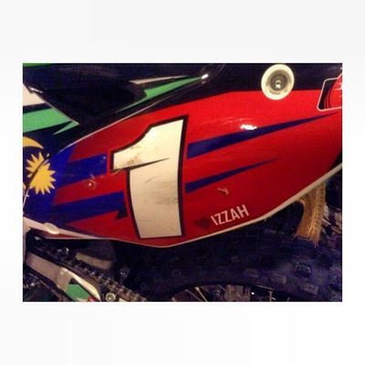 He said if he win he will put my name on his motorcyle. Well now he keep his word