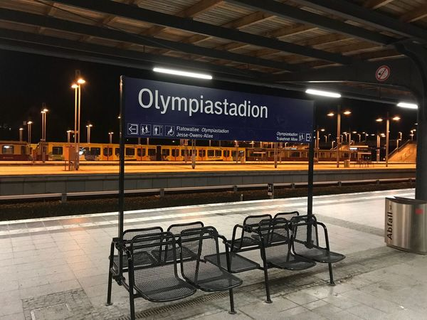 Lieblingsort Fussball Ist Unser Leben Bahnhof Olympiastadion Berlin Illuminated Night Parking Lot Cold Temperature No People Indoors  City