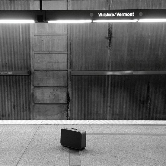 B&w Photography Underground Metro B&w Suitcase Train Station