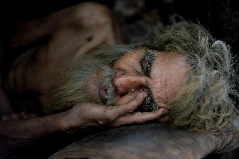 Close-up of sleeping man