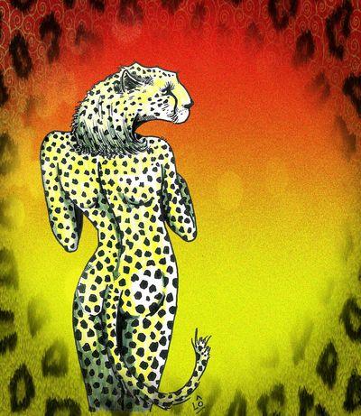 Feutre Dessin Drawing Leopard Guepard Panthère Africa Fauve Cat Croquis