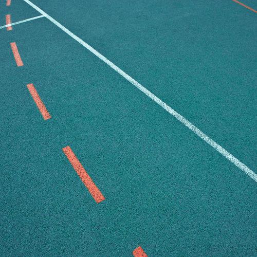 High Angle View Of Markings On Basketball Turf