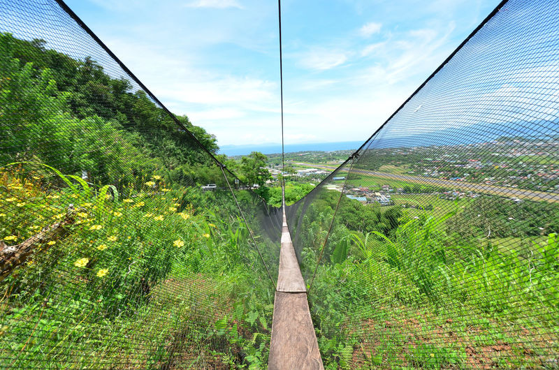 Suspension Bridge Hanging Hanging Bridge Scary Scare Nature Sky Landscape Beauty In Nature Tranquility Outdoors Adventure Adventurous Exploration Green Narrow Walkways Walkway Path Pathway Fearless Acrophobia Height High Bravery Just Do It