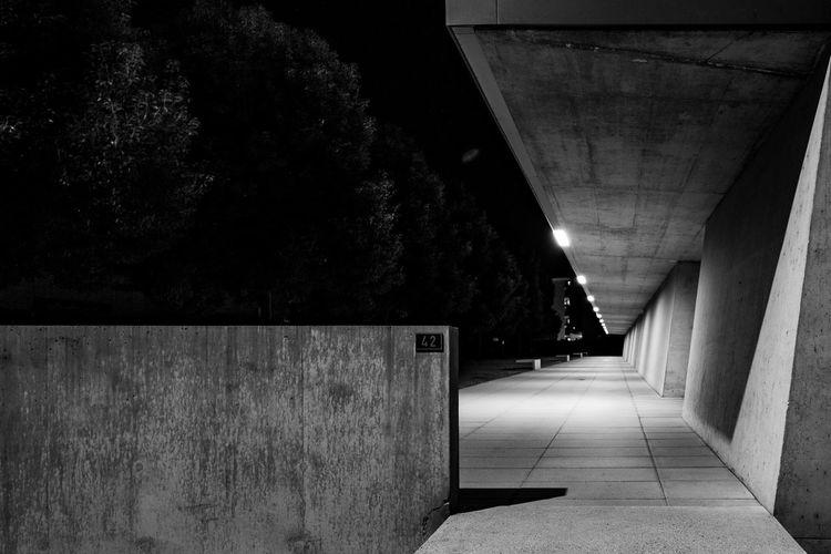 Empty illuminated tunnel
