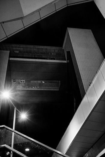 Architecture Low Angle View Built Structure Railing Staircase Night Steps And Staircases
