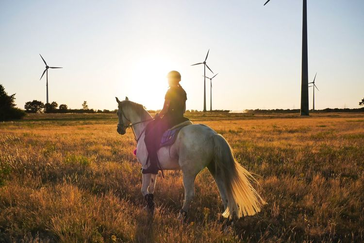 Woman riding horse on field against sky