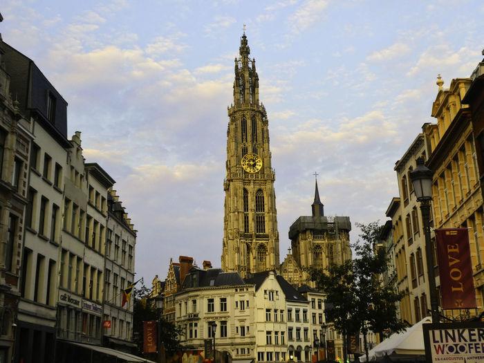 Antwerp City Belgium Cathedral Tourist Golden Hour Kathederaal Old Buildings Summer