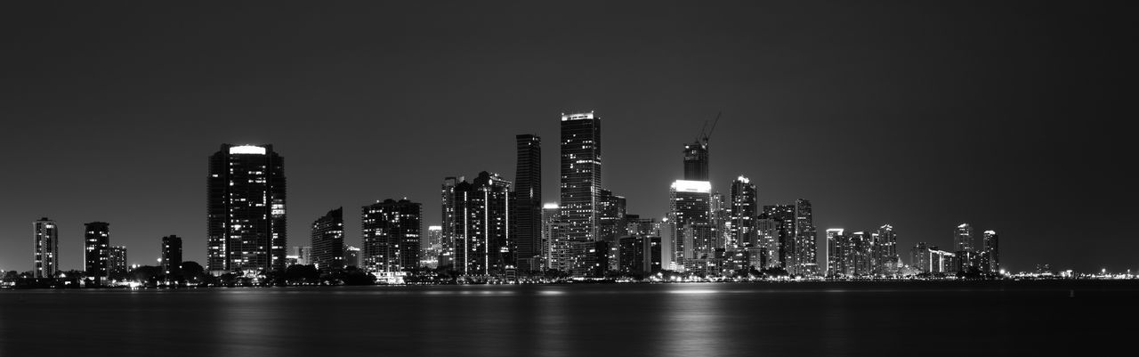 Architecture B&w Photography Black And White City Building Exterior City City Night City Night Lights City Night View Cityscape Downtown District Illuminated Miami City Skyline Miami Nights Miami Skyline Miami View Modern Night Outdoors Sea Skyscraper Travel Destinations Urban Skyline Water Waterfront The Great Outdoors - 2017 EyeEm Awards