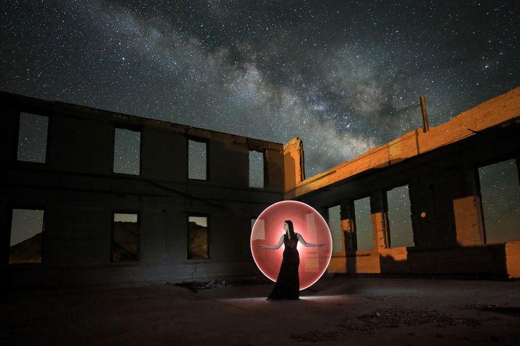 Digital composite image of building against sky