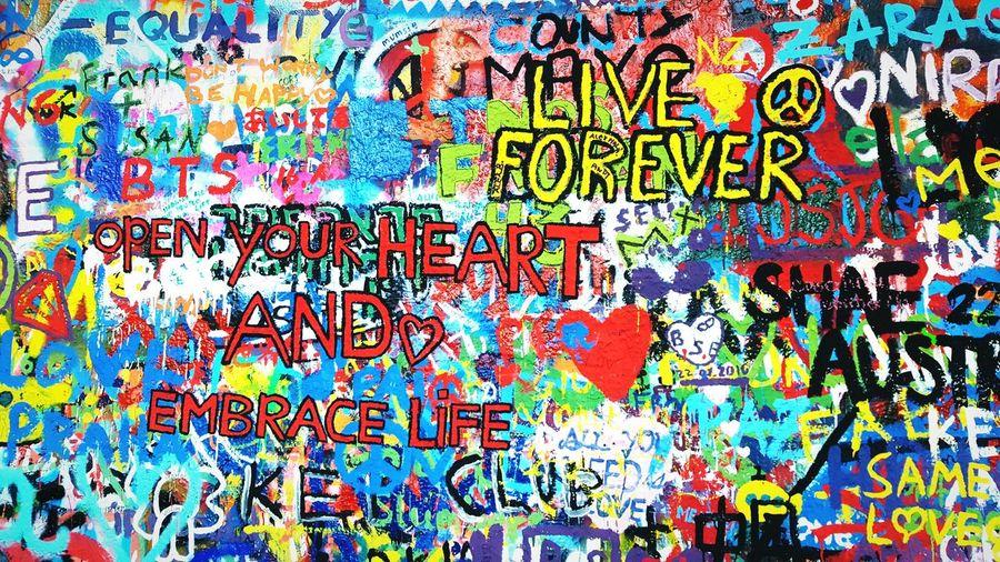 Eyeemphoto Heart Life Lifestyles Streetphotography Street Art Graffiti Graffiti Wall Graffiti Art Johnlennonwall Colors Colour Of Life Colorful Live Forever Praha Praha2016 Praha_life Czech Republic