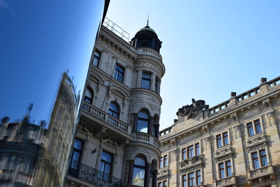 Architecture Building Exterior Buildings City Clear Sky Clock Face Clock Tower Day Façade Fasade Horizontal Modern Vs Old No People Outdoors Politics And Government Prague Czech Republic Sky Travel Destinations light and reflection City Light The City Light
