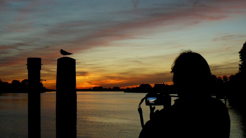 City Photography Themes Water Sunset Technology Photographing Silhouette Camera - Photographic Equipment Sea Sky