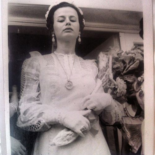 Her day And this dress all handmade .. 10.08.1975 ? Motherlove Dress Vintage Mom weddingdress gown weddingday black white