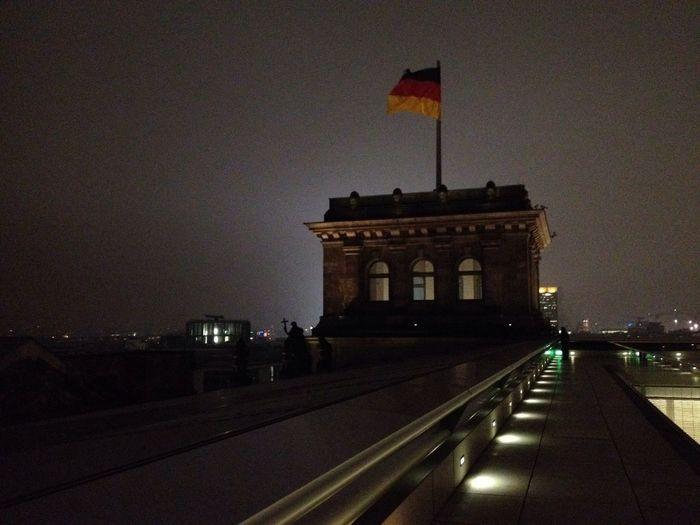 Illuminated built structure at night