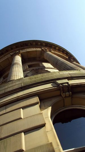 Todmorden town hall Townhall The Architect - 2016 EyeEm Awards Day Architecture Low Angle View Blue Built Structure Building Exterior Architectural Column Spring Travel Destinations Outdoors No People Clear Sky Historic Tourism Afternoon Exterior Sky Shadows The Past Ornate Architectural Feature Directly Below Design