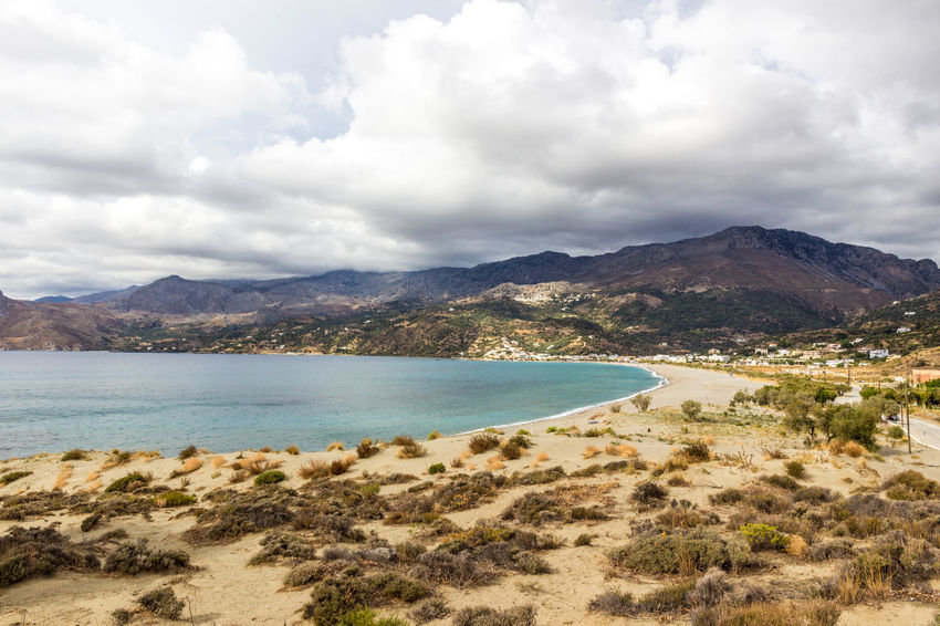 Plakias beach, south Crete, Greece Crete Greece Greece, Crete Growth Holiday Holidays Bay Beach Beauty In Nature Clouds And Sky Crete Dune Greece Mountain Mountain Range Nature No People Plakias Sand Sand Dune Scenics Sea Tourism Tranquil Scene Tranquility Travel Destinations