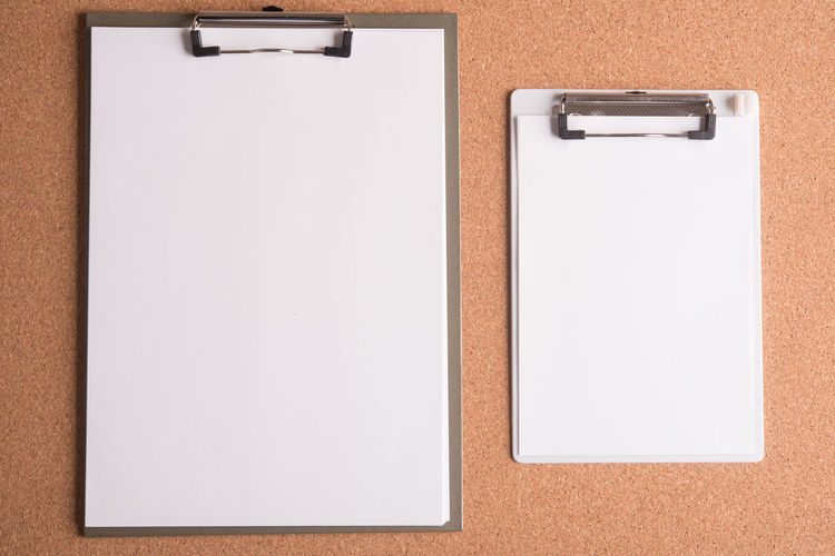 Blank Board Business Clipper Paper Table Top View White