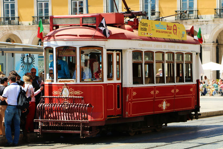 The Lisbon Trams, old, slow, packed, decadent... but still worth hopping on and enjoy the feel of the ride. Lisbon Tram Tram Tranvía Travel Travel Photography City Day Group Of People Land Vehicle Lisbon Men Outdoors People Public Transportation Real People Transportation Travel Destinations Women The Street Photographer - 2018 EyeEm Awards