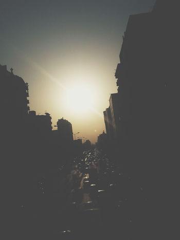 Moning Rise Street Dookie Cairo Egypt At 5pm Sun Rise Bridge Crowded Street Cars Traffic People ...