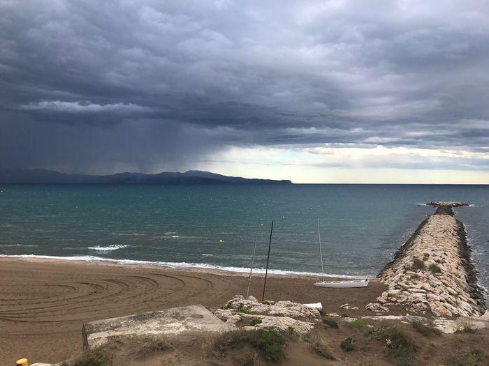 Badia De Roses Rainy Day Water Sea Sky Cloud - Sky Beach Land Scenics - Nature