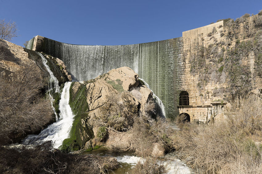 Views of the Elche swamp in winter. Province of Alicante in Spain. Agriculture Elche Scenic Swamp Vinalopo Architecture Built Structure Cascade Day Irrigation No People Outdoors Reservoir Rock - Object Waterfall