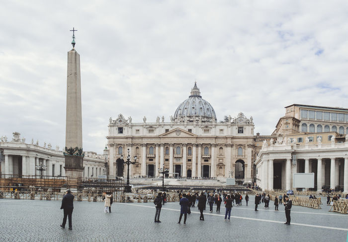 San Pietro In Vaticano Vatican Architectural Column Architecture Building Exterior Built Structure City Day Dome History Large Group Of People Leisure Activity Men Outdoors People Real People Sky Tourism Travel Travel Destinations Women
