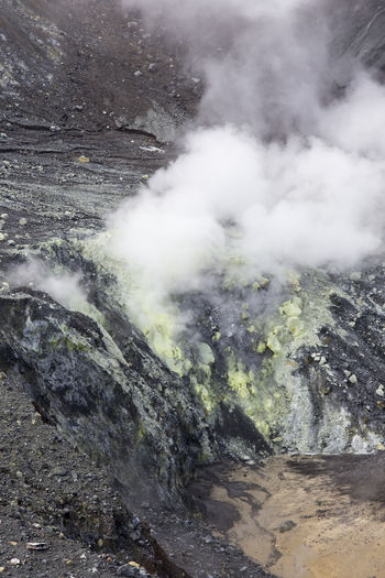 Beauty In Nature Day Emitting Environment Erupting Geology Hot Spring Landscape Mountain Nature No People Non-urban Scene Outdoors Physical Geography Power Power In Nature Rock Scenics - Nature Smoke - Physical Structure Steam Tranquil Scene Tranquility Volcanic Crater Volcano