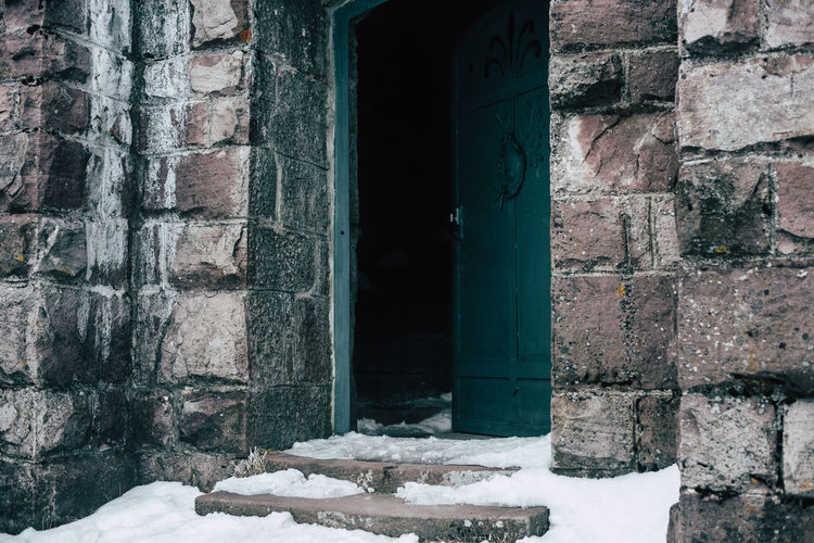 The darkness inside Architecture Built Structure Close-up Cold Temperature Darkness And Light Day Door Horror Ice Indoors  Mysterious Mystery No People Old Buildings Snow We Window Winter