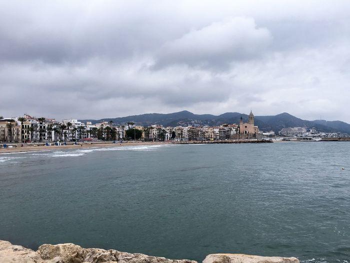 Beach Sitges Clouds Sea Sea And Sky Mediterranean  Cloudy
