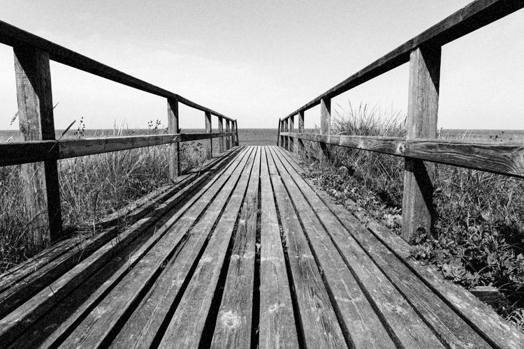 Sylt - Westerland Architecture Built Structure Clear Sky Connection Day Footbridge Nature No People Outdoors Railing Sky The Way Forward Transportation Water White, Gangplank, Sunny, Summer, Boardwalk, Wood, Beach, Blue, Sky, Sea, Scene, Wooden, Background, Bridge, Idyllic, Gangway, Vacation, Ocean, Relaxation Wood - Material