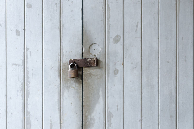 Close-Up Of Padlock On Door