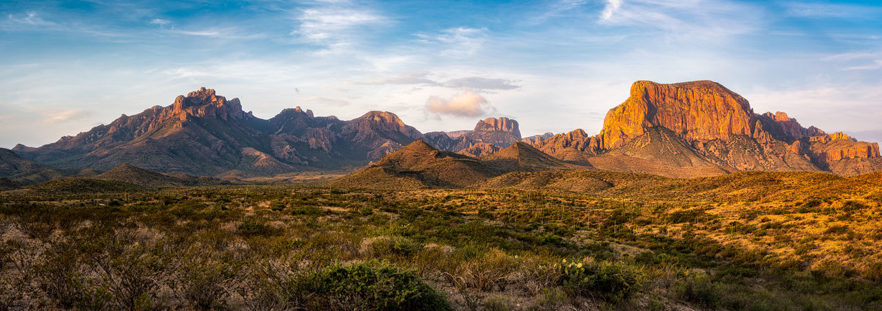 Panoramic view of landscape and mountains against sky in big bend national park - texas