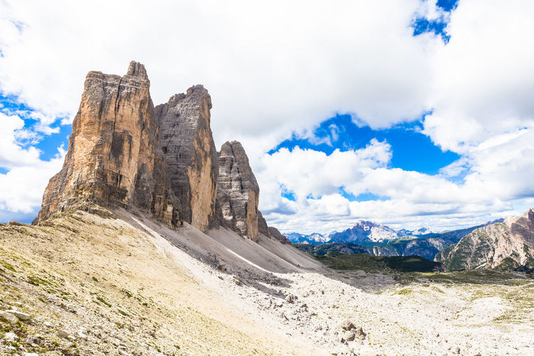 Scenic view of rock formations in italy