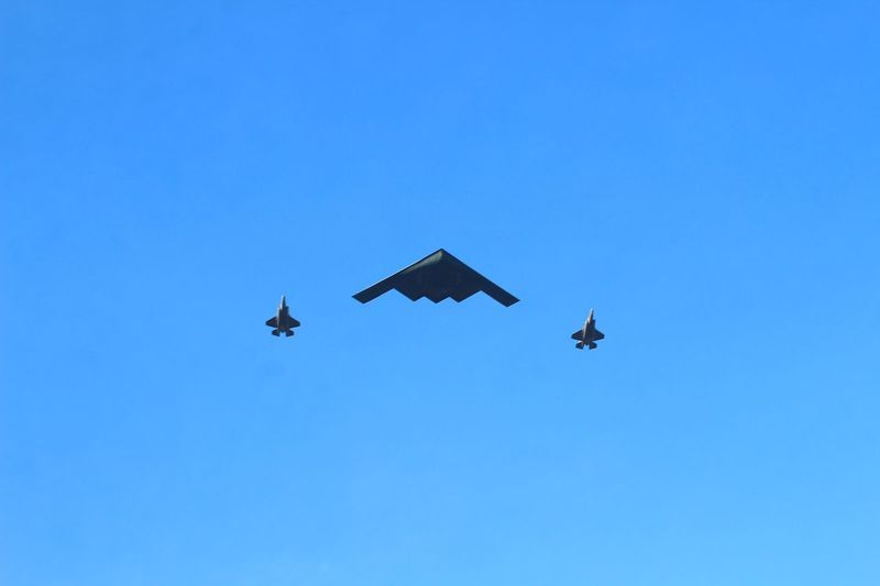 Stealth Bomber Flying Blue Airplane Mid-air
