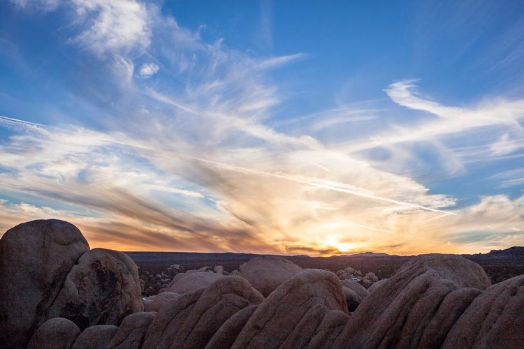 Rock formations at sunset