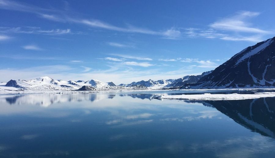 Svalbard Arctic Arctic Ocean Eyem Best Shots Nature_collection EyeEm Nature Lover Eyemphotography EyeEm Selects Water Reflection Sky Cloud - Sky Scenics - Nature Tranquility Beauty In Nature No People Blue Tranquil Scene Cold Temperature Day Outdoors Nature