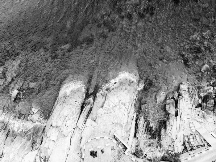 High angle view of cave
