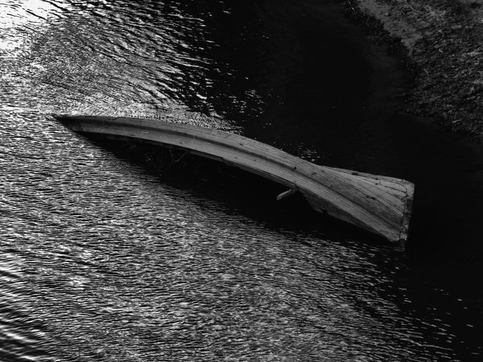 B&w Boat No People Outdoors River River Boat Riverside Sinking Sinkingboat