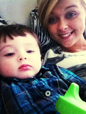 Laying in bed watching sponge bob with this precious wittle boy :)