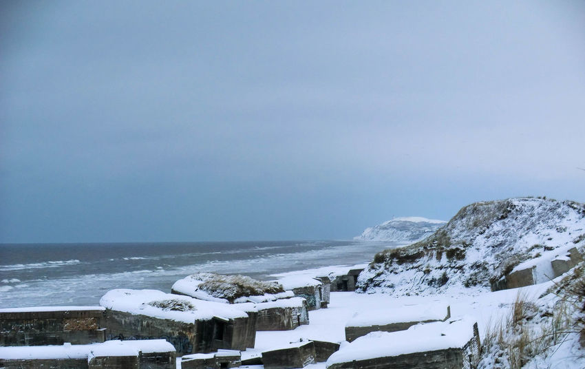 Beach Bunkers  Cold Cold Temperature Day Løkken Nature No People Sky Snow Water Weather Winter